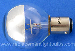 M-04010 24V 50W BA15d Top Half Silver Globe Lamp, Replacement Light Bulb