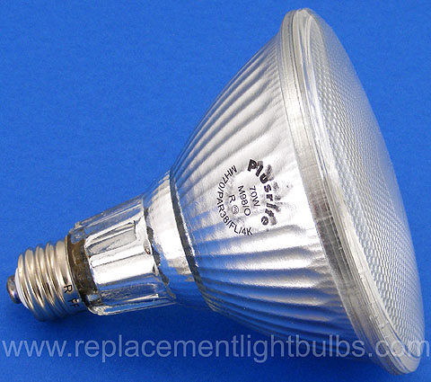 MH70/PAR38/FL/4K 70W M98/O 4200K Metal Halide PAR38 Flood Light Bulb, Plusrite Replacement Lamp